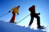 Couple of snowshoers on ridge, Muehlviertel, Upper Austria