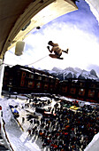 Jump during ice climbing-competition, Canmore, Canada
