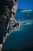 Female free climbing, Hofpuerglhuette, Gosaukamm, Austria