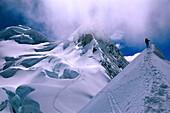 Mountaineer ascending Vallunaraju Mountain 5.686m, Cordillera Blanca, Peru