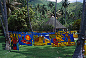Souvenir shop with textile paintings, Lilishop Pareus, near Cook´s Bay, Moorea, French Polynesia, South Pacific