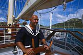 Mate at Helm, Star Clipper Caribbean