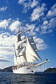 Star Clipper sailing boat sailing past St. Kitts, Caribbean