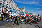 Bars and cafes along the Marine Parade, Brighton, East Sussex, England, Great Britain