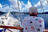 Man with nautical Shirt, Approaching Grenada Royal Clipper, Caribbean