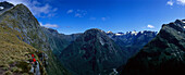 Milford Track Hikers at Mackinnon Pass, Fiordland National Park, South Island, New Zealand