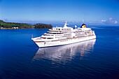 Cruiser ship MS Europa, Aerial view, Cook´s Bay, Moorea, French Polynesia