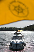 Yellow Umbrella & Houseboat, Yellow umbrella on houseboat, Crown Blue Line Consul Houseboat, Lake Zotzensee, Mecklenburgian Lake District, Germany