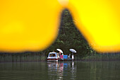 Lakeside Relaxation, Lakeside relaxation, Lake Ellbogensee, Lake Roeblinsee, Lake Grosser Paelitzsee, View through Yellow Sun Umbrella, Lake Ellbogensee, Mecklenburgian Lake District, Germany