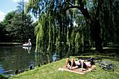 Relaxing in Odense Park, Munke Mose Park, Odense, Funen, Denmark