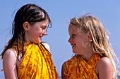 Happy Girls at Beach, Blavand, Southern Jutland, Denmark