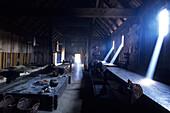 Viking Hut Interior, Ribe Vikingecenter, Ribe, Southern Jutland, Denmark