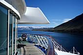 Cruise Ship, MS Europa in Fjord, Jogging Parcours on Deck 9, near Ísafjörður, Isafj'rdur, Ísafjarðarbær, Island