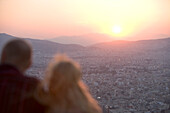 Watching the Sunset, View from Lykavittos Hill Athens, Greece