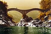 Roman bridge at Lavertezzo, Val Verzasca, Ticino, Switzerland