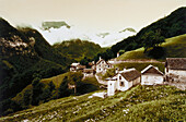 A mountain village with typical stone houses and mountain scenery, Val di Bosco, Ticino, Switzerland