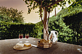 Still life with red wine, bread and cheese, Ticino, Switzerland