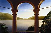 View over Lake Lugano, Morcote, Ticino, Switzerland