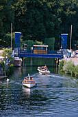 Boats near draw bridge, Plau at lake, Mecklenburg Lake District, Mecklenburg-Western Pomerania, Germany