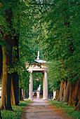 Alley of linden and Hebe-Temple, Neustrelitz, Mecklenburgian Lake District, Mecklenburg-Western Pomerania, Germany