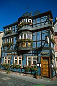 Historic blue house, Hotel Blaue Ecke in Adenau, Eifel, Rheinland Pfalz, Germany