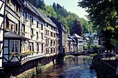 Houses next to the Rur, Monschau, Eifel Nordrhein-Westfalen, Germany