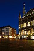 Town hall at night, Aachen, North Rhine-Westphalia, Germany