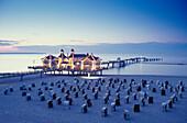 Sea Resort Sellin at dusk, Ruegen, Mecklenburg-Western Pomerania, Germany, Baltic Sea