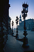 Street lamps in the afternoon athmosphere at the Hofkirche in Dresden, Germany