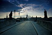 Old stone bridge over Main River in Wuerzburg, Franconia, Bavaria, Germany