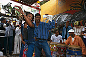 A couple dancing Rumba in front of street musicians at the Old Town, Callejon Hamel, Havana, Cuba, Caribbean