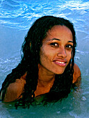 Beautiful Girl in the Water, Carribbean Beach, Colombia, South America