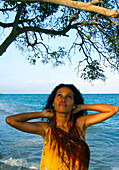 Beautiful Girl under Tree, Carribbean Beach, Colombia, South America