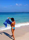 Girl in Blue, Carribbean Beach, Cartagena, Colombia, South America