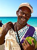Coconut Vendor, Carribbean Beach, Cartagena, Colombia, South America