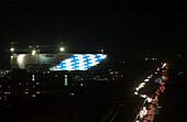 Allianz Arena, Allianz Arena light test, construction, world championship, world cup, soccer, stadium, Munich, Bavaria, Germany