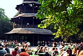 Chinesischer Turm, Beergarden at Chinesischer Turm, Chinese Tower, English Garden, Munich, Bavaria, Germany
