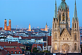 Skyline of Munich with St. Pauls Kirche and Frauenkirche, Munich, Bavaria, Germany