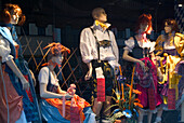 Traditional bavarian dresses in shop display, Dirndl and leather trousers, Munich, Bavaria, Germany
