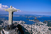 View of Statue of Christ Cristo Redentor and sugarloaf mountain, Rio de Janeiro, Brazil, South America, America