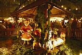 A nativity scene at the christmas market in Dresden, Saxony, Germany
