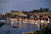 Häuser der Hafenstadt Whitby im Sonnenlicht, Yorkshire, England, Grossbritannien, Europa