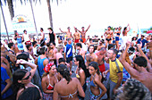 Young people dancing in the Bora Bora Beach Disco, Club, Playa d'en Bossa, Ibiza, Spain