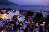 Guests in a roof top restaurant, Kalkan, Antalya, Turkey