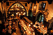 View of people at the restaurant U Flecku, Prague, Czechia, Europe