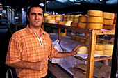 Man selling cheese at the market, Rovinj, Istria, Croatia, Europe