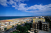 View of houses and beach, Rimini, Adriatic Coast, Italy, Europe