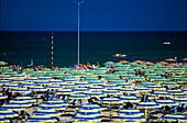 Sunshades on the beach, Rimini, Adriatic Coast, Italy, Europe