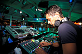 Disc jockey at Prince Nightclub, Riccione, Province of Rimini, Italy, Europe