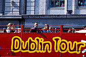 Tourist at a sightseeing tour on a bus, City Tour Bus, General Post Office, Dublin, Ireland, Europe